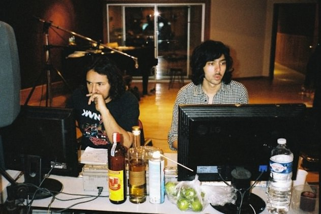 Augé (left) and de Rosnay at work in Motorbass Studios in 2009