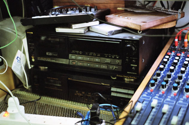 A small fraction of Holden's collection of cassette decks