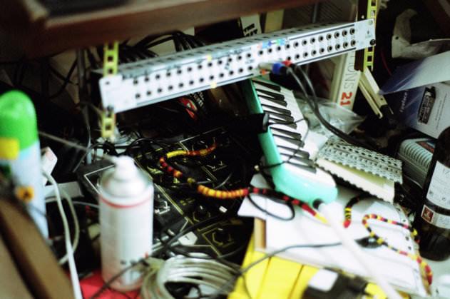 Organised chaos in James's studio