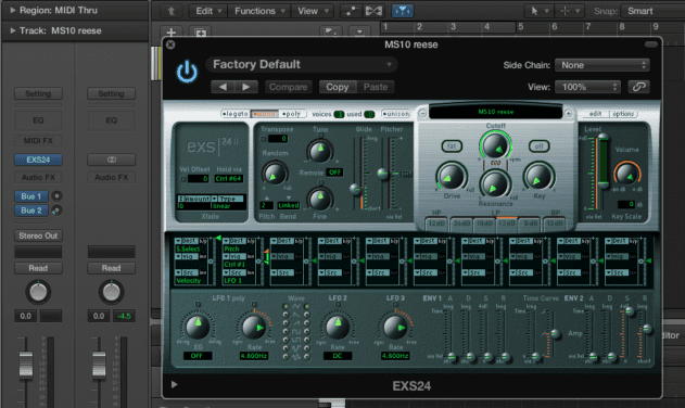 Old graphics in plugins like the EXS24 sampler stick out like a sore thumb