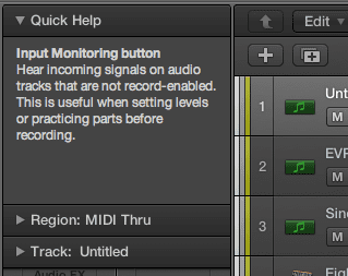 New Quick Help tool tips make it easier to find your way around the DAW's features.