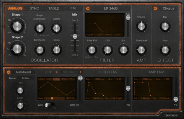 The new Retro Synth offers four modes: Analog, Sync, Table and FM