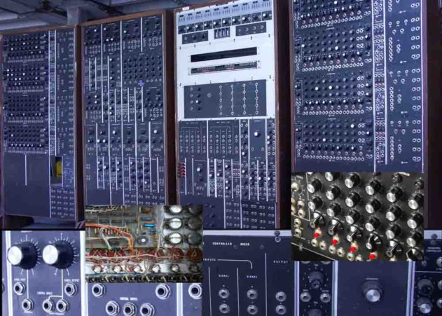 Wide shot and details of the CEMS modular synth (photo: Vemia)