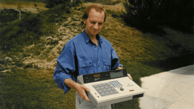 """Roger Linn """"holding an MPC60 prototype and making an odd face"""""""