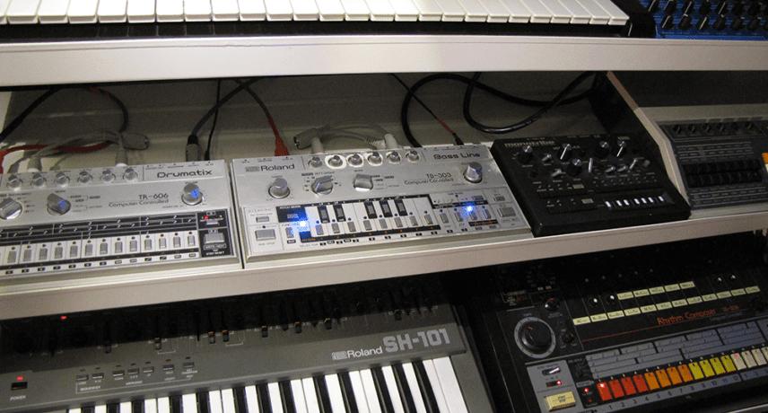 Roland SH-101, TB-303, TR-606 & TR-808