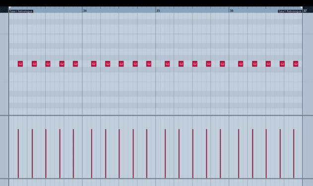 Pic 5a - Simple four bar root rhythm bass.