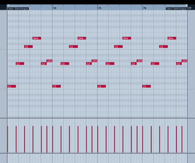 Pic 9a - Single oscillator octave spanning bass pattern + kick.
