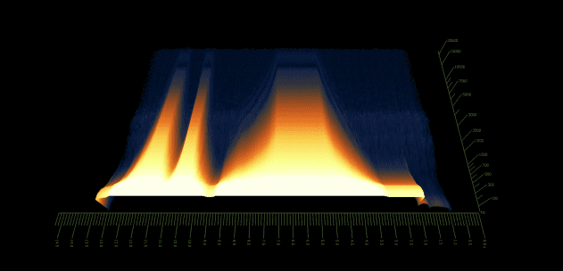 Pic 11a - spectrogram - single oscillator saw only - manual cutoff changes.