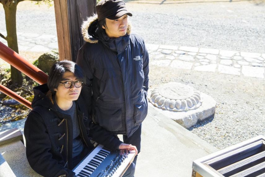 Tatsuya Takahashi (seated) and Yuki Ohta with the Minilogue