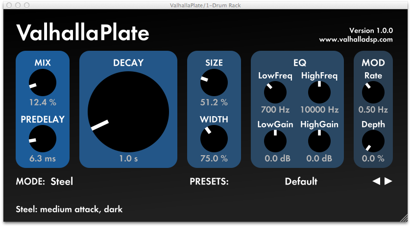 ValhallaPlate Plate Reverb Effect