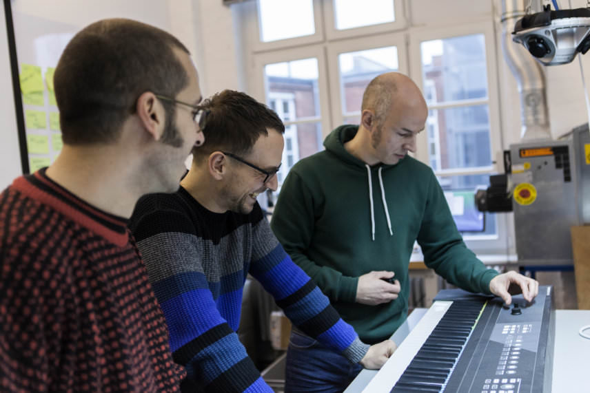 Matthias B, Dinos Vallianatos and Alexander Stamm testing the Komplete Kontrol S