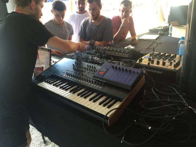 DJ teaching a synth class