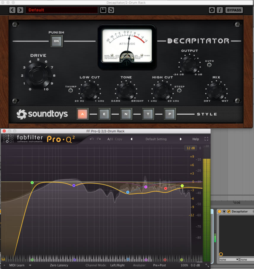 soundtoys decapitator and fabfilter pro-q2