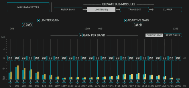 Limiter/EQ showing the Graphic EQ