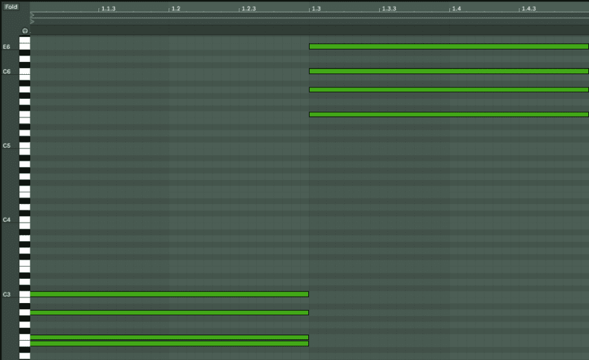Piano Roll for 1 Bar Preben Goes to Acapulco Chords