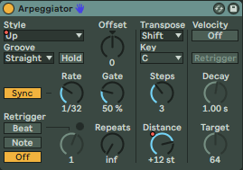 Arpeggiator Up Settings Preben Goes to Acapulco Chords