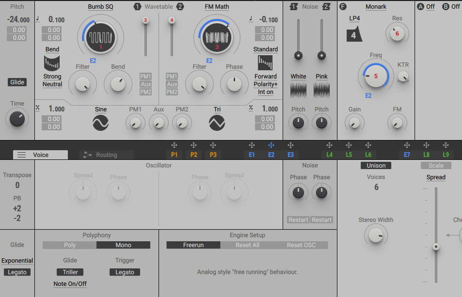 Voicing and Filter Settings